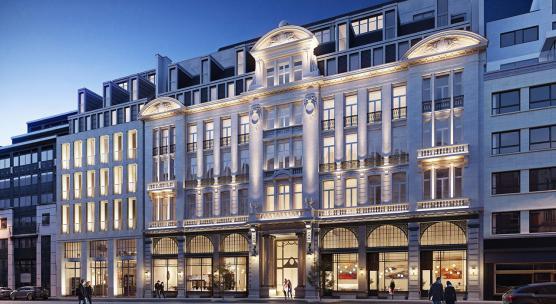 Voorgevel van het Corinthia Grand Hotel Astoria Brussels, dat opent in 2020