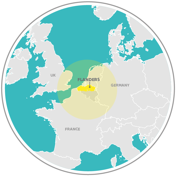 Map: Flanders in Europe, at the center of Europe's three largest economies: Germany, the UK and France.