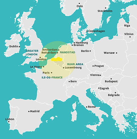 Map of Flanders in Europe: Over 60% of European Purchasing power is situated within a tight 500-kilometer radius around Flanders