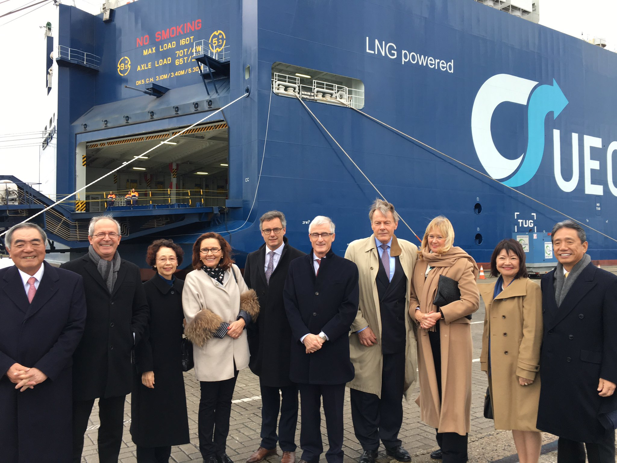 Naming ceremony held for the world's first LNG-fueled pure car and truck carrier at the Port of Zeebrugge.