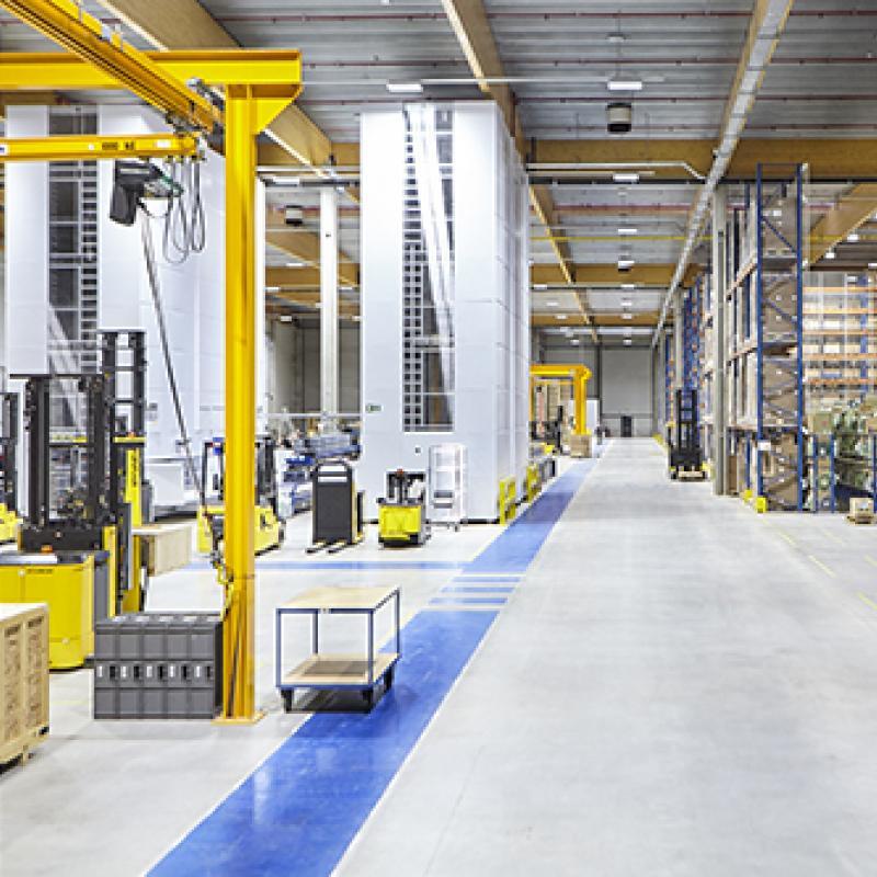 Warehouse at Hyundai Construction Equipment Europe in Tessenderlo, Belgium