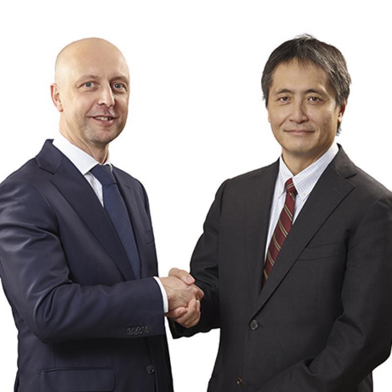 Jean Vandael, plant general manager of Kaneka Belgium and Katsutoshi Shichijo, former president of Kaneka Belgium