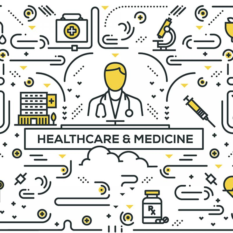 HEALTHCARE AND MEDICINE RELATED LINE ICONS PATTERN DESIGN