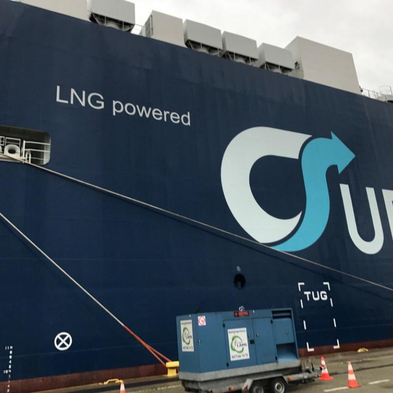 Auto Eco is the first car ship to burn gas oil and liquefied natural gas (LNG)
