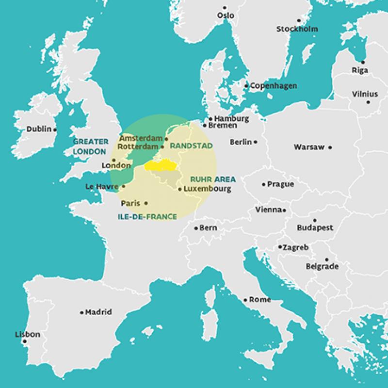 Map Flanders in Europe