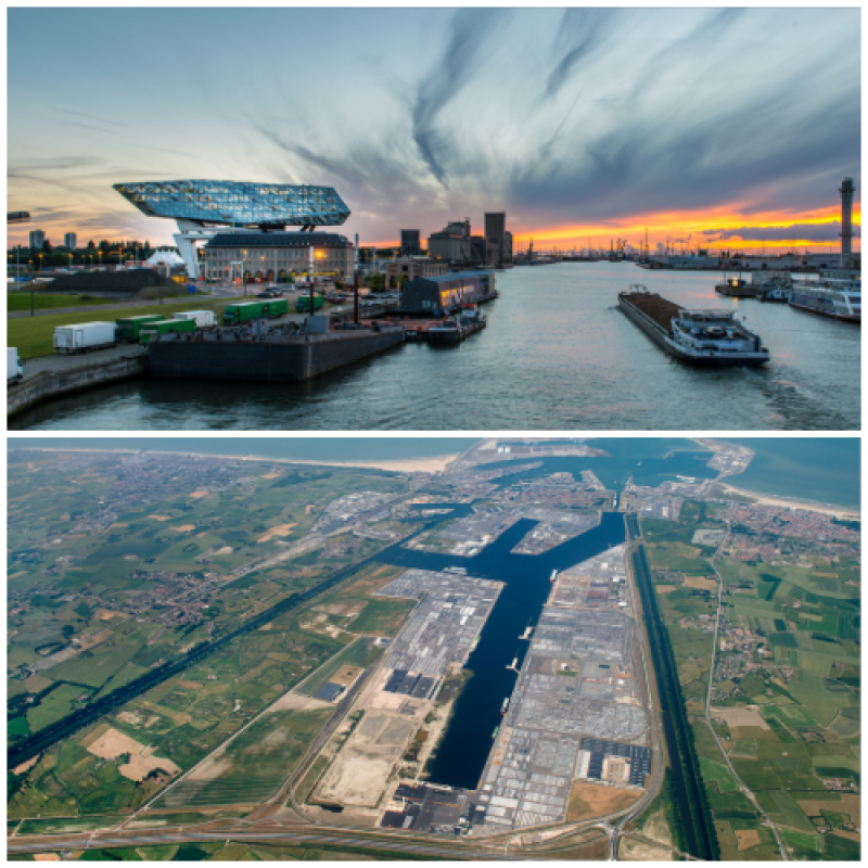 Port of Antwerp (above) and Port of Zeebrugge (below)