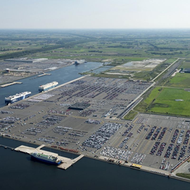 Car terminal at the Port of Zeebrugge
