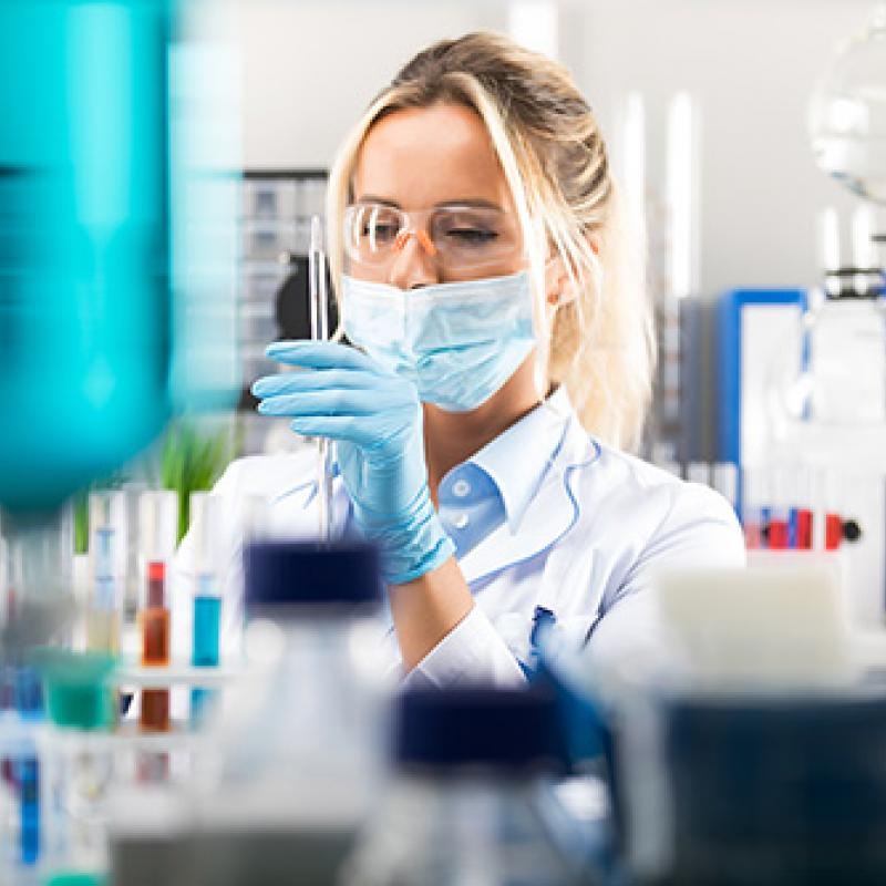 female researcher in lab