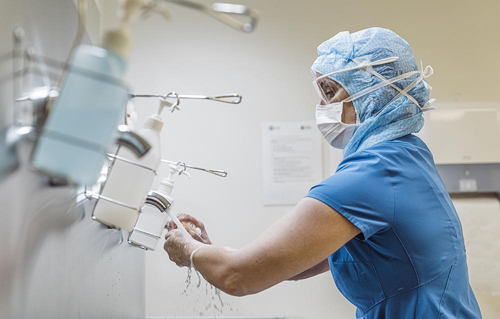 Nurse washing hands