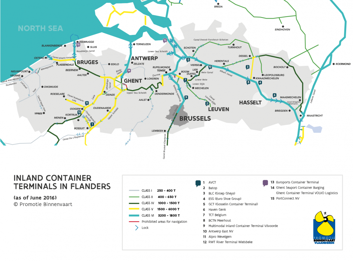 Map with all inland container terminals in Flanders