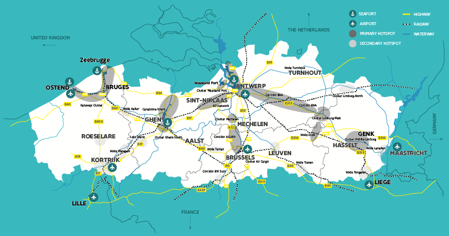 Map with logistics hotspots in Flanders, Belgium: airports, seaports, roads, rail and inland waterways