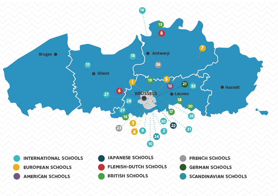 Map with international schools in (the vicinity) of Flanders