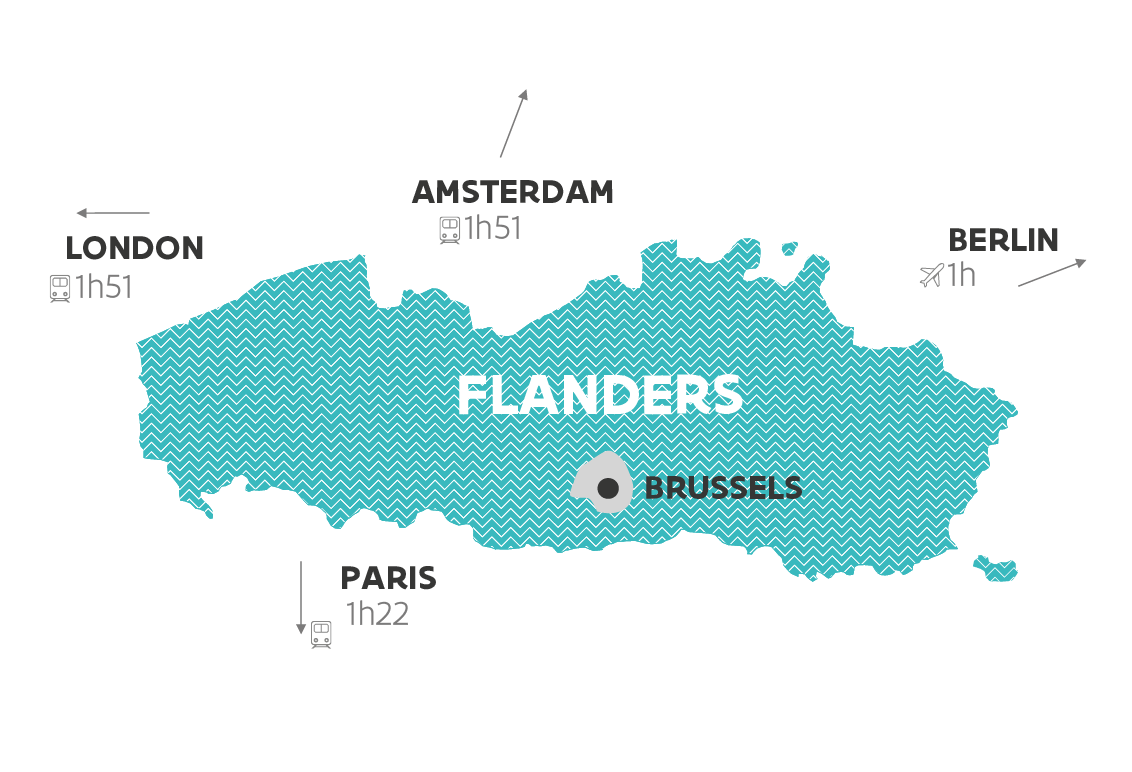 Map of Flanders with nearby capitals and travel time
