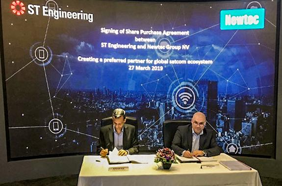 Signing of share purchase agreement between ST Engineering and Newtec