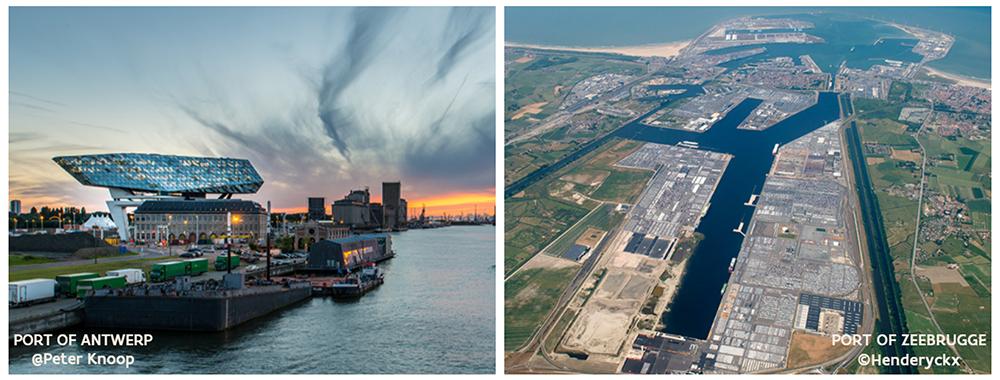Port of Antwerp (left) and Port of Zeebrugge (right)
