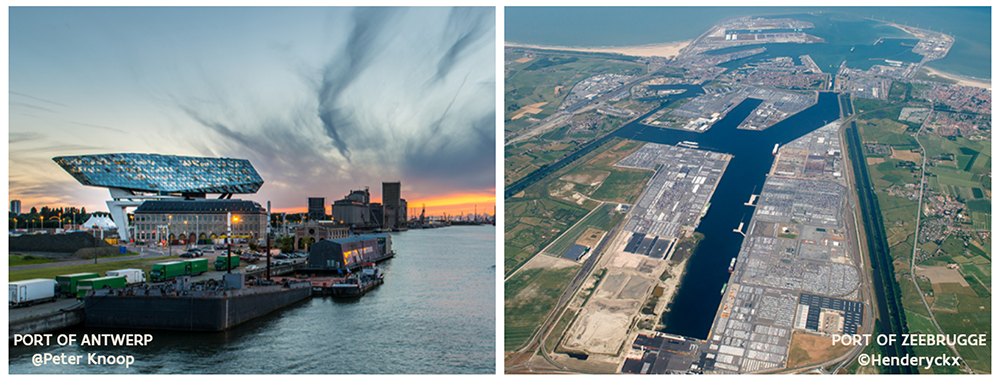 Port of Antwerp (left) and Port of Zeebrugge (right)