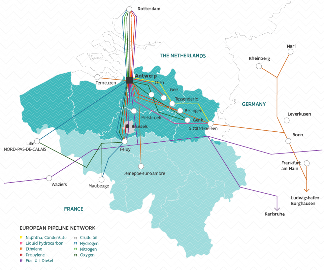 Antwerp, major Northern European hub of pipelines for the transit of crude oil, naphtha, ethylene, propylene, natural gas and more.