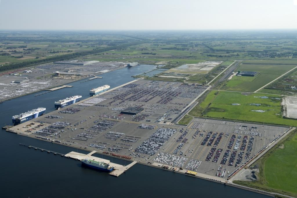 Car terminal at the Port of Zeebrugge